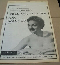 June Valli 1954 Ad- Tell Me Tell Me/Boy Wanted Rca Victor