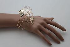 New Women Wide Cuff Bangle Gold Metal Bracelet Leaf Tree Strands Fashion Jewelry