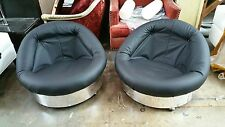 1970'S SUPER FUNKY MOD SPACE AGE PSYCHEDELIC LEATHER AND CHROME TUB CHAIRS P
