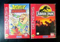 Sega Genesis Game Cartridge Lot Of 2 Jurassic Park & Asterix In Cases