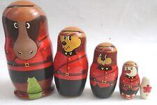 Canada Wooden Animal Nesting Doll 5 Piece Set