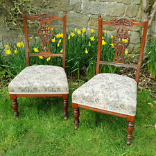 Victorian Pair of Carved Mahogany Bedroom Chairs C1880 (Nursing)