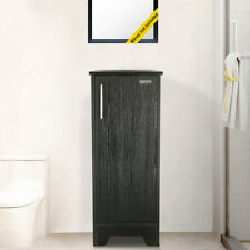 13 inch Modern Small Bathroom Vanity Cabinet Table Organizer Wood Top Black