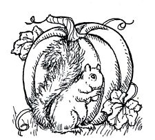 Fall Pumpkin Squirrel Autumn Wood Mounted Rubber Stamp NORTHWOODS C10484 New