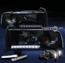 1994-2001 DODGE RAM LED STRIP BLACK CRYSTAL HEAD LIGHTS W/DRL LAMP+6K HID CORNER