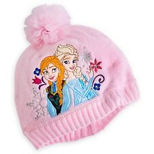 Disney Store Frozen Elsa & Anna Pink Embroidered Knit Hat - Size XS/S  - New