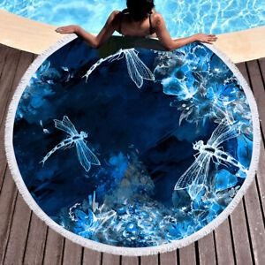 Fashionable blue fluorescent dragonfly patternbeach home carpet