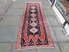 Vintage Traditional Hand Made Oriental Blue Red Wool Long Runner 277x96cm