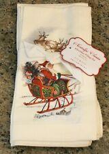 New Pottery Barn Holiday Christmas NOSTALGIC SANTA Napkins - Mixed Set of 4