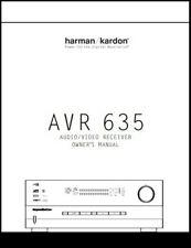 Harman Kardon AVR 635  AV Receiver  Owner's Manual - Operating Instructions