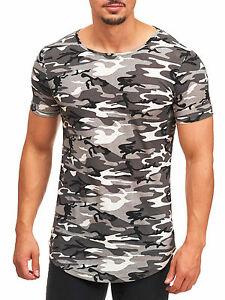 MADDU Herren Kurzarm T-Shirt Oversized Camouflage Round Lang Short Sleeve army