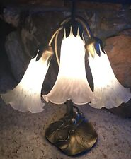 Vintage Tiffany Style Lily Pad Tulip Art Glass Shades Lamp 3 Lights
