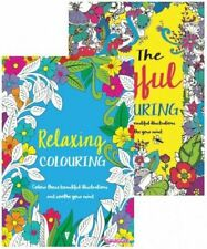 2 x Relaxing Stress Relieving Colouring Books for Adults - Joyful & Relaxing Fun