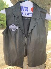 USA Bikers Dream Apparel Ladies 100% Leather HARLEY DAVIDSON patch Vest sz Med
