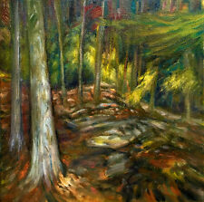 Redwood Forest California 12x12 in. Oil on stretched canvas Hall Groat Sr.