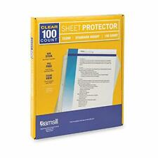 Clear Sheet Protectors Box Of 100 Standard Weight Plastic Page Protectors