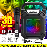 LED Portable bluetooth Speaker Subwoofer Heavy Bass Wireless Outdoor Microphone