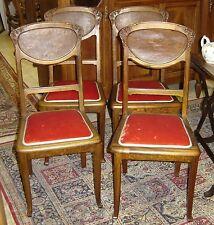 4 chaises époque art nouveau école de Nancy Majorelle , Gallé, Neiss