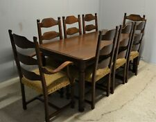 Antique Style Oak Dining Table and Eight Chairs Vintage Wood Delivery Available