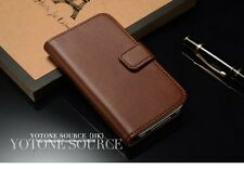 Iphone 4/4s Leather Case Wallet With Stand  Flip Book Cover , Brown