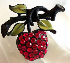 JJ Signed  RED CHERRY BROOCH PIN VINTAGE ESTATE JEWELRY