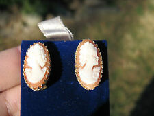New Old Stock 14kt Elongated Oval Fine Shell Cameo Earrings AVIGAD-Great Details