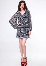 Vero Moda RRP £60 Black & White Striped Print Dia Dress UK 8 E 36 BNWT Free Ship