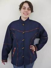 Vintage Ethnic Hippie Boho Wool Cotton Lined Navy Blue Jacket Coat Womens M