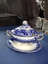 "Early Rare English 7 1/2"" Floral Flow Blue Sauce Tureen"