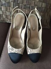 CHANEL BEIGE CAMELLIA LEATHER BLACK SATIN CAP TOE SLINGS CC LOGO ON HEELS 38 1/2
