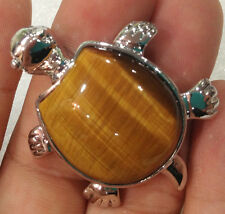 New Charming Turtle type africean Natural Tiger's Eye pendant 18KGP
