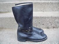 """12"""" Vintage Leather Motorcycle Engineer Chopper Riding Mens Pull-On Boots 10 US"""