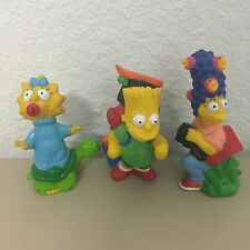 """Lot Of 3 Simpsons Camping Plastic Figurines Vintage 1990 Bart Marge Maggie 3"""""""