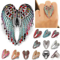 Angel Wings Stretch Ring Crystal Rhinestone Fashion Bling Jewelry Gift Braw Blan
