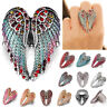 HK- Angel Wings Stretch Ring Crystal Rhinestone Fashion Bling Jewelry Gift Braw