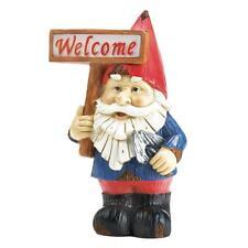 Charming Welcome Gnome Solar LED Light Garden Decor Fence Patio Figure Figurine