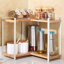 2-Tier Kitchen Wooden Corner Shelf Display Rack Nuts Can Jar Storage Organizer