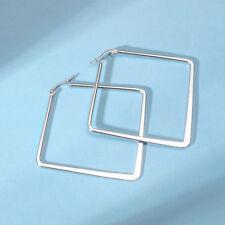 Geometric Square Earrings Dangle Women Large Hoop Ear Stud Gold Stainless Steel
