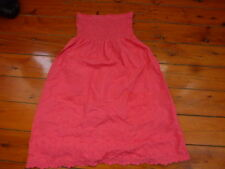Ladies Pink Elastic Off The Shoulder Embroidered Cambric Lace Dress Size 8