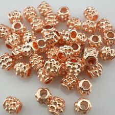 50pcs Rose Gold Cylinder Round Tube Loose Spacer Beads 4x4mm Jewelry Making