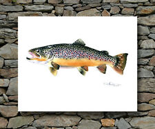 BROWN TROUT Painting Fly Fishing ART Print Signed by Artist DJR