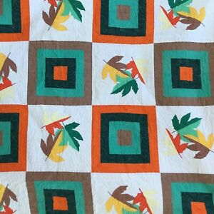 "Quilt Leaves Hand Pieced Never Used All Cotton 68"" x 67"" Fair Winner 2014"