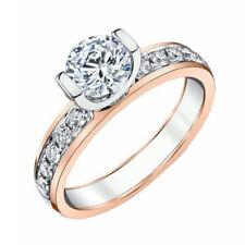 Certified 1.40 Ct Round Cut Diamond Moissanite Engagement Ring 14K Rose Gold
