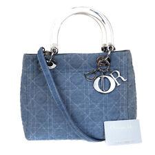 Auth Christian Dior Lady Cannage 2Way Hand Bag Denim Canvas Blue Italy 74AC056
