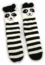 LADIES WARM LINED PANDA SLIPPER BOOT SOCKS POM POM EARS UK SIZE 4-8 USA 6-10