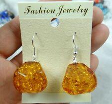 Precious Modernist amber Handmade Gemstone Jewellery earrings HE3