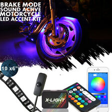 10pc Motorcycle Under Glow Smart LED Light Kit All-Color Accent Glow Strip Light