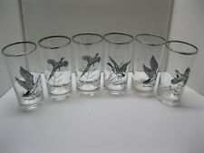 Vintage Set of (6) Game Bird High Ball Glasses Canada Goose, Pheasant, Grouse...