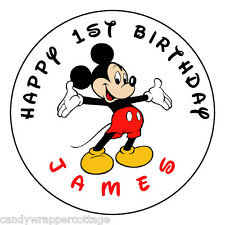 """Mickey Mouse Birthday Personalized 2.5"""" Round Labels Favors Sticker Loot Bags"""