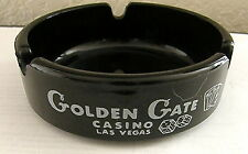 VINTAGE GOLDEN GATE CASINO LAS VEGAS NV BLACK AMBER GLASS ASHTRAY NICE ONE